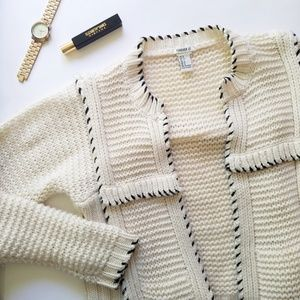 Forever 21 Cream Knit Black Stitch Cardigan